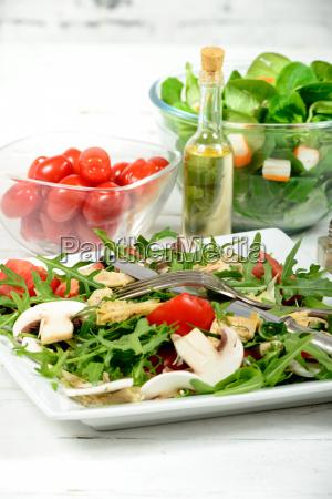 seasonal salad on the white table