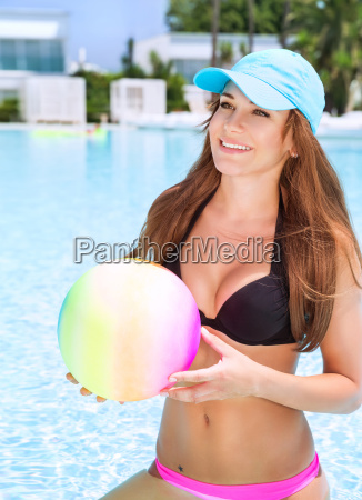 happy female in the pool