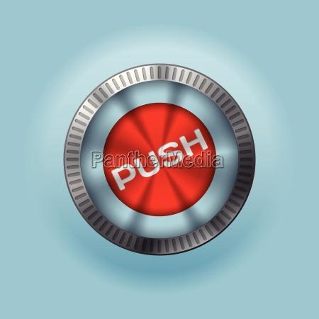 boton metalico brillante con texto push