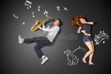 playing the sax for her