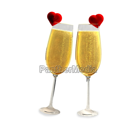 two champagne glasses with two red