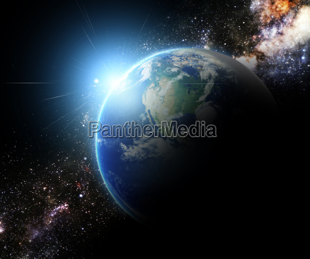 earth and sunbeam in galaxy space