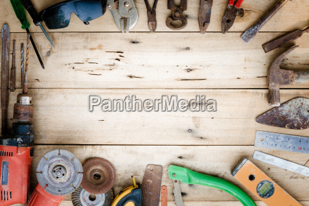 old equipment tools set on wood