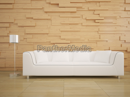 sofa and wood wall in living