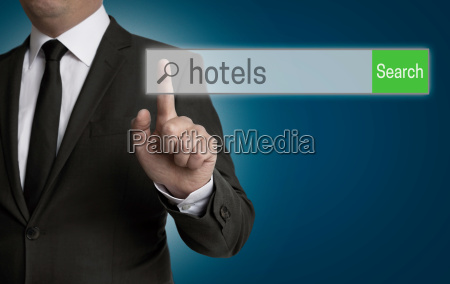 hotel browser is served by businessman