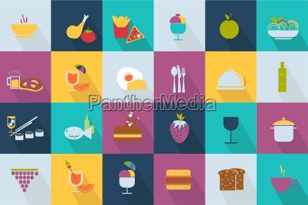 set of food icons web