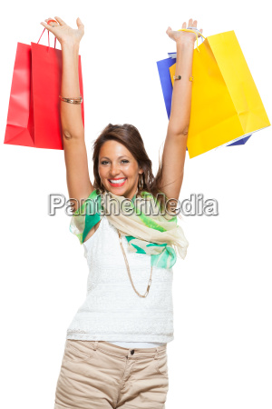 young stylish woman with colorful shopping