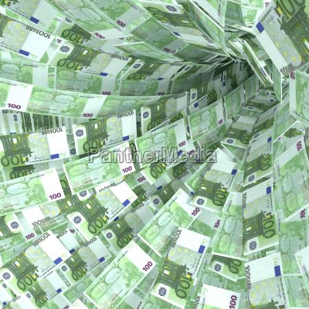 money vortex of 100 euro notes