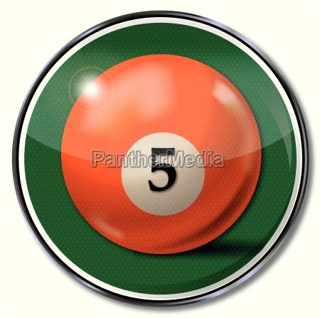 shield orange pool billiard ball number