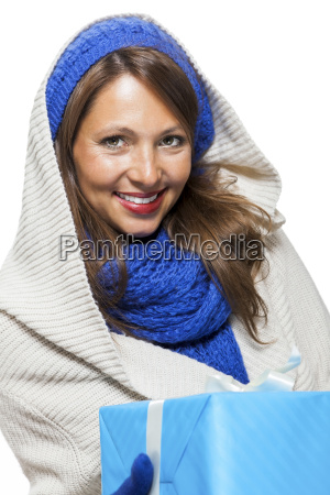 young attractive woman with blue woolen
