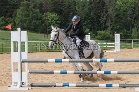 horseman is mastering a recalcitrant white