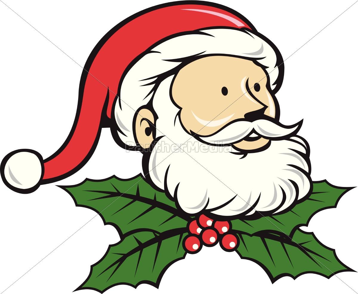 Christmas Holly Cartoon.Royalty Free Vector 14243747 Santa Claus Father Head Christmas Holly Cartoon