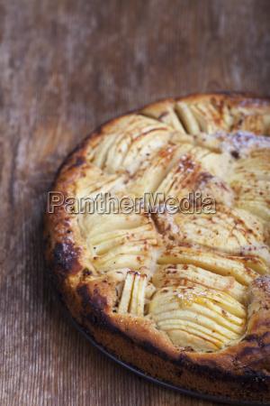 homemade german apple pie on wooden