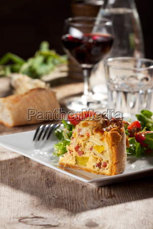 fresh quiche on a plate