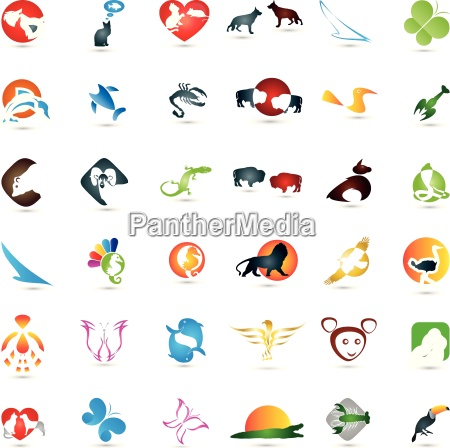 large collection of animals logos