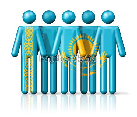 flag of kazakhstan on stick figure
