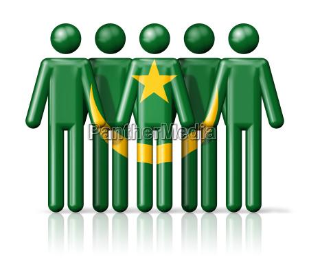 flag of mauritania on stick figure