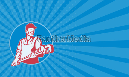 business card plumber worker monkey wrench