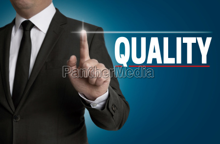 quality touchscreen is operated by businessman