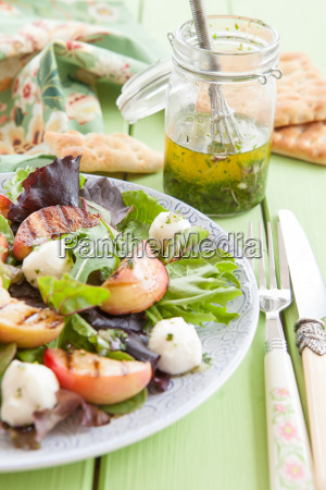 fresh salad with grilled peaches