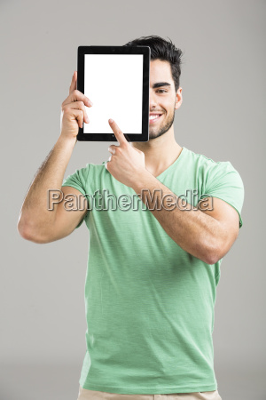 man working with a tablet