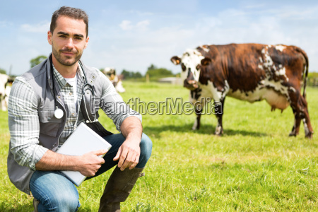 portrait of a young attractive veterinary