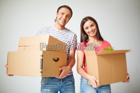 couple with packages