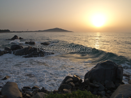 sunrise with wave in sardinia