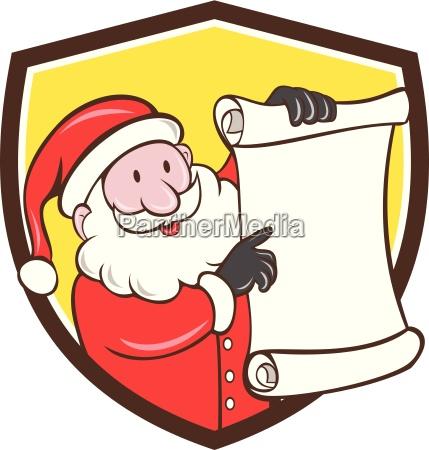 santa claus paper scroll pointing shield