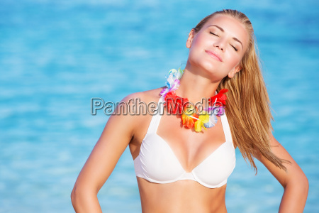 beautiful woman on hawaiian party