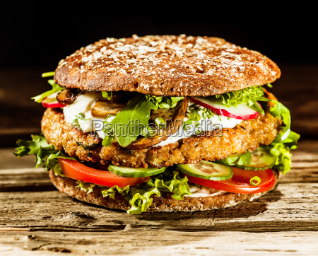 beef burger on a healthy wholegrain