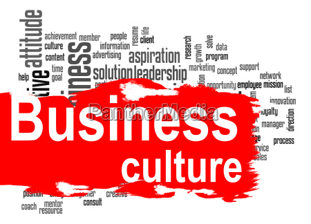 business culture word cloud with red