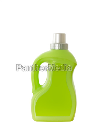 green plastic bottle with handle isolated