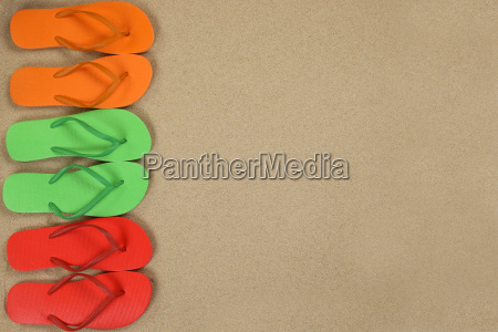 flip flops sandals on the beach