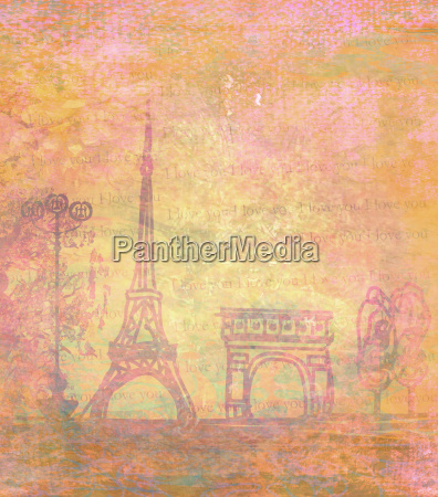 eiffel tower vintage abstract card