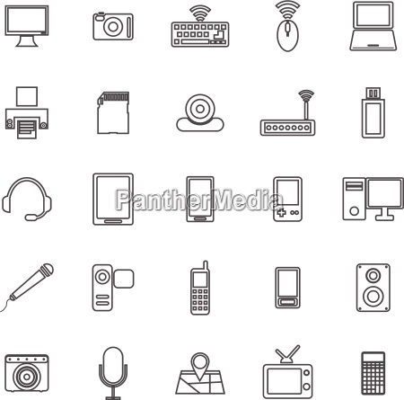 gadget line icons on white background