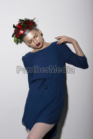 stylized fashion model with flowers