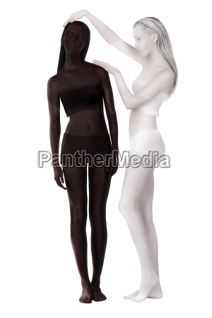 bodypainting fantasy two women painted black