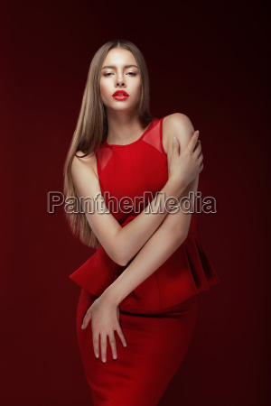 elegance stylish lady in red silky