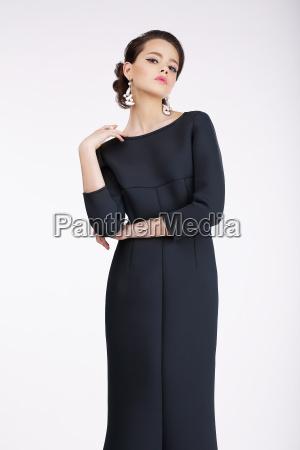 glam luxurious fashion model in black