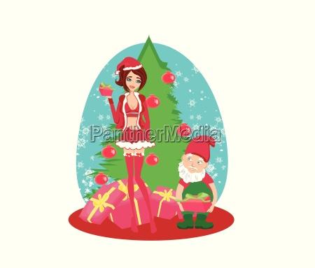 beautiful pin up girl in christmas