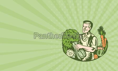 business card organic farmer green grocer
