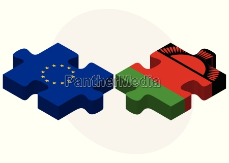european union and malawi flags in