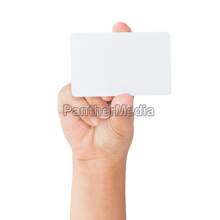 hand, hold, blank, white, card, isolated - 14309101