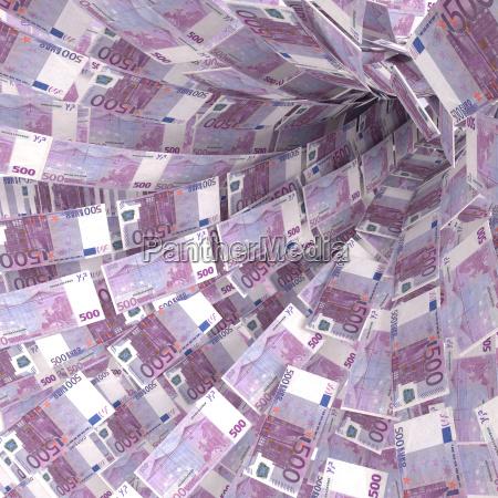 money vortex of 500 euro notes