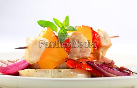 chicken skewer with pan roasted vegetables