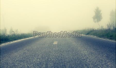 foggy road soft focus