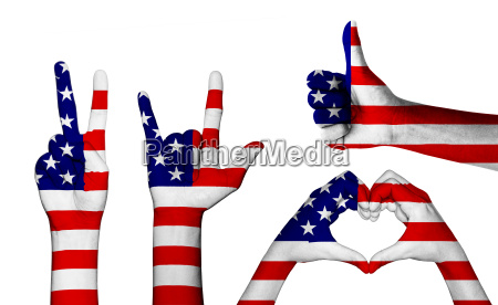 hand gesture with color america flag