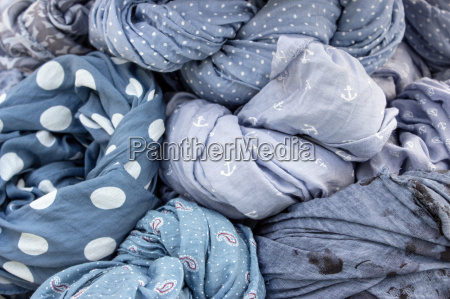 different blue patterned fabrics
