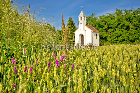catholic chapel in rural agricultural landscape